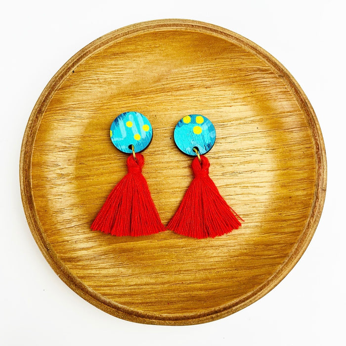 BENDALONG Mardi Drop Earrings (Red Tassels)