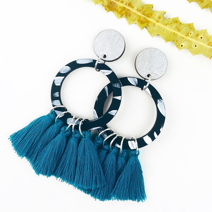 SUBIACO Georgie Drop Earrings (Dark Jade Tassels)