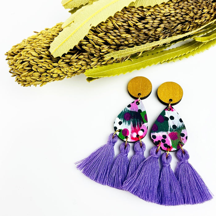 BABINDA Bebe Drop Earrings (Dark Lavender Tassels)