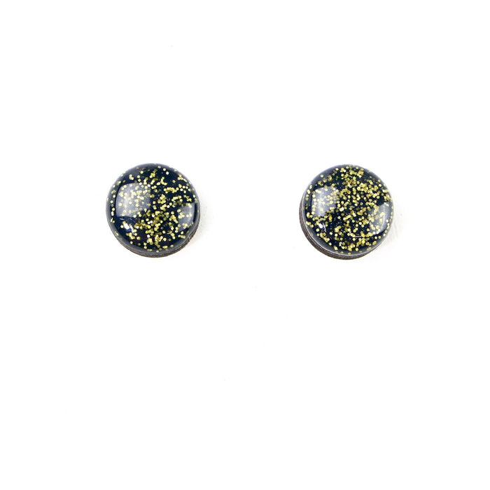 SALE Hand Painted Stud Earrings - Jacoby (12mm - Navy Glitter)