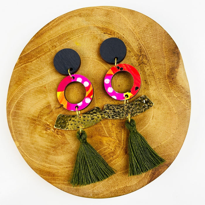 AIRLIE BEACH Hola Drop Earrings (Olive Tassels)