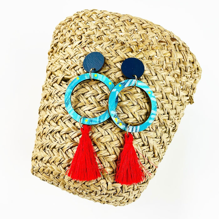 BENDALONG Leto Drop Earrings (Red Tassels)