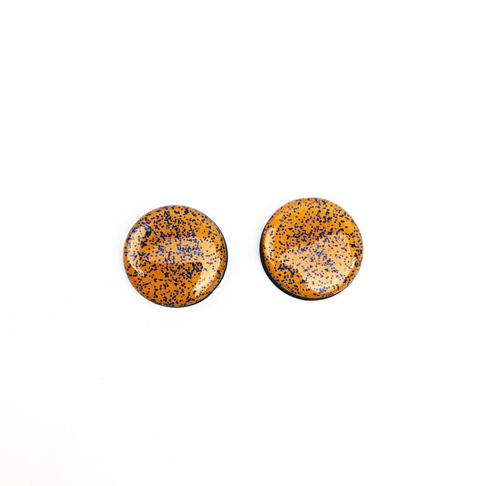 BEE Hand Painted Stud Earrings - Jacoby (15mm - Mustard Glitter)