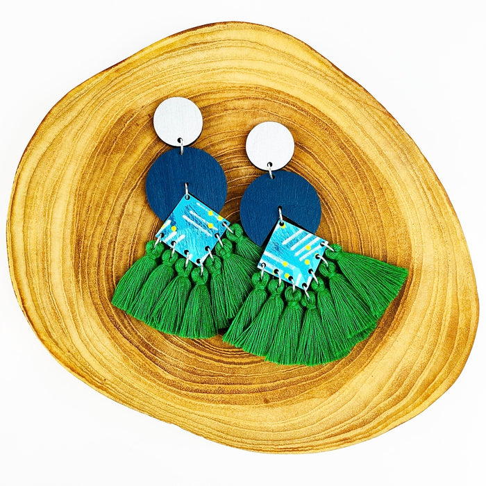 BENDALONG Circus Drop Earrings (Emerald Green Tassels)