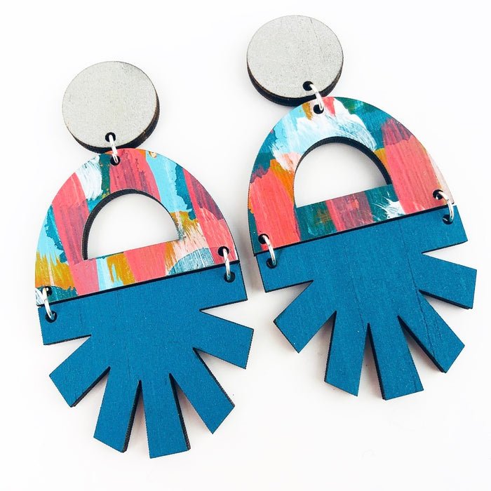 HENLEY Tilt Drop Earrings (Turquoise Bottom)