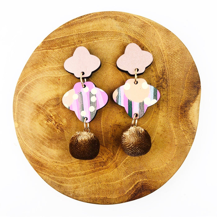 PAMBULA Clover Drop Earrings (Light Brown Velvet Pom Pom)