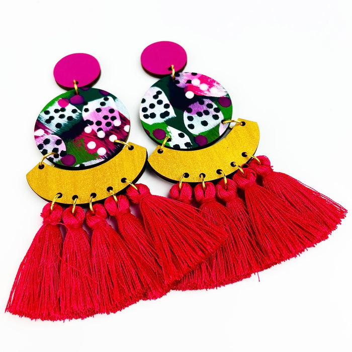 BABINDA Kirby Drop Earrings (Fuchsia Tassels)