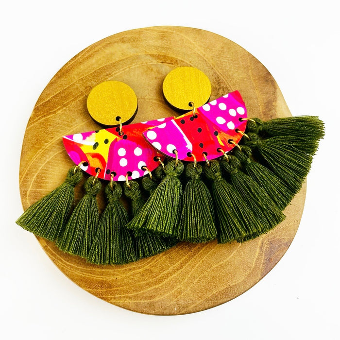 AIRLIE BEACH Munro Drop Earrings (Olive Tassels)