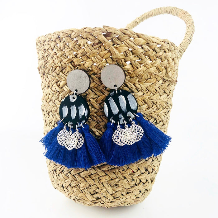 SUBIACO Reno Drop Earrings (Blueberry Tassels)