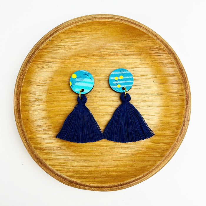 BENDALONG Mardi Drop Earrings (Navy Tassels)