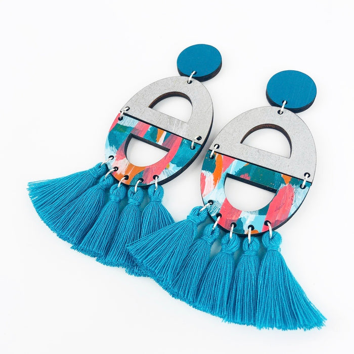 HENLEY Cosgrove Drop Earrings (Turquoise Tassels)