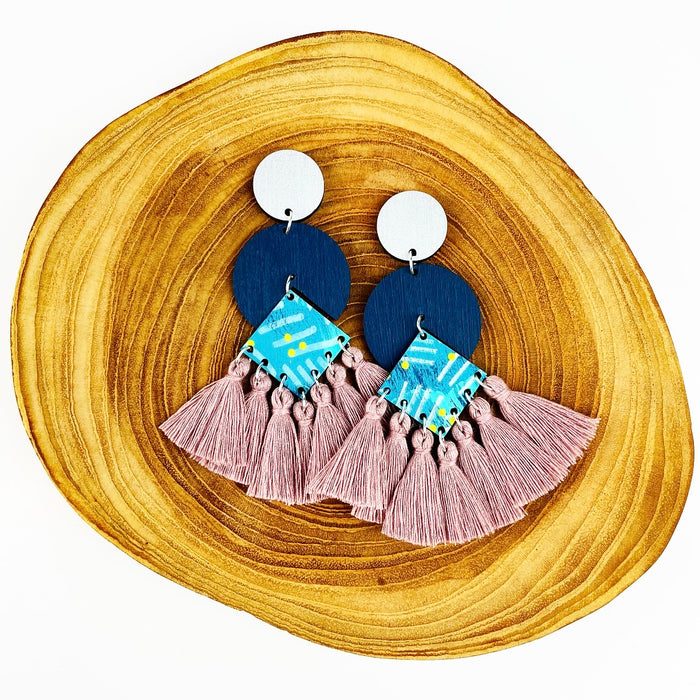 BENDALONG Circus Drop Earrings (Pink Clay Tassels)