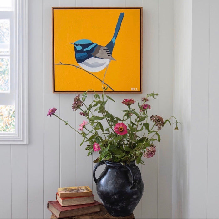 Fairy Wren by Bee Twomey (510mm x 510mm) Framed