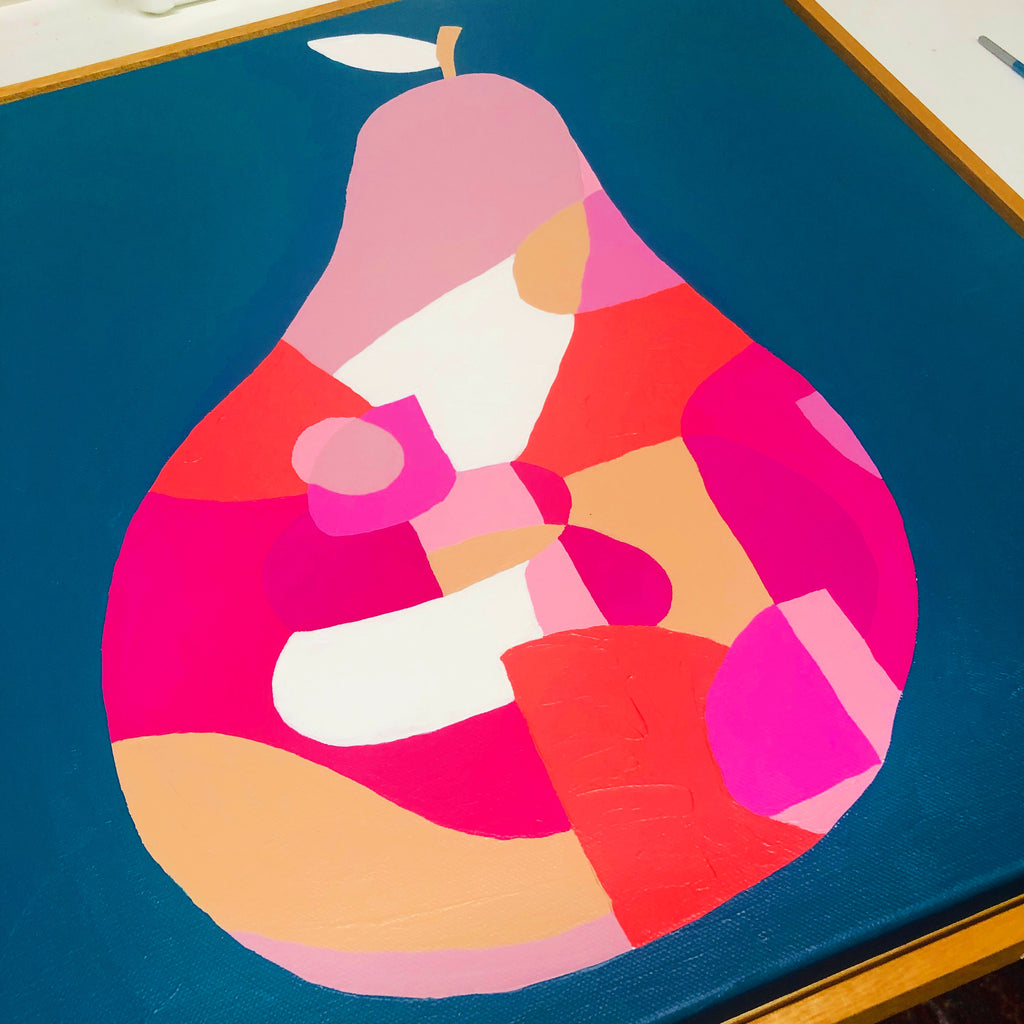 Tupelo Pink Pear by Bee Twomey (510mm x 510mm) Framed