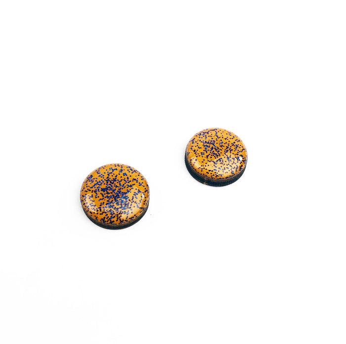 SALE Hand Painted Stud Earrings - Jacoby (12mm - Mustard Glitter)