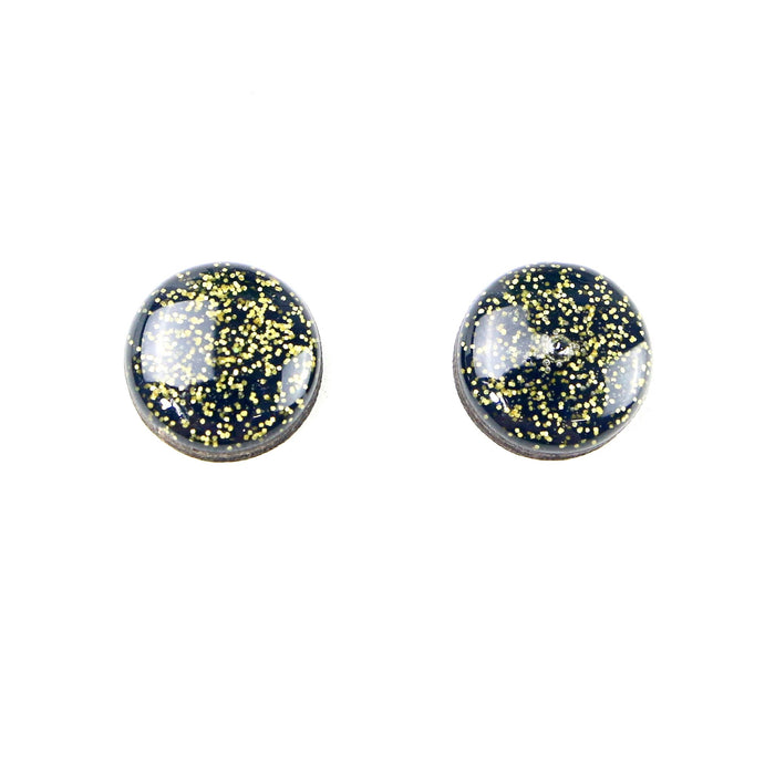 SALE Hand Painted Stud Earrings - Jacoby (15mm - Navy Glitter)