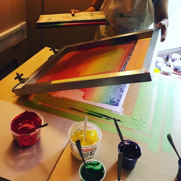 screen printing rainbow prints