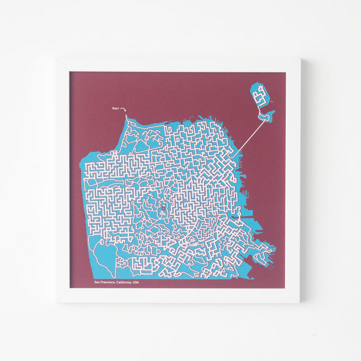 red and teal san francisco maze map by dirt alley design