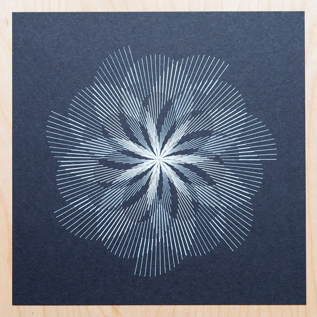 phyllotaxis code art by michelle chandra of dirt alley design drawn with axidraw pen plotter using white gelly roll on black paper