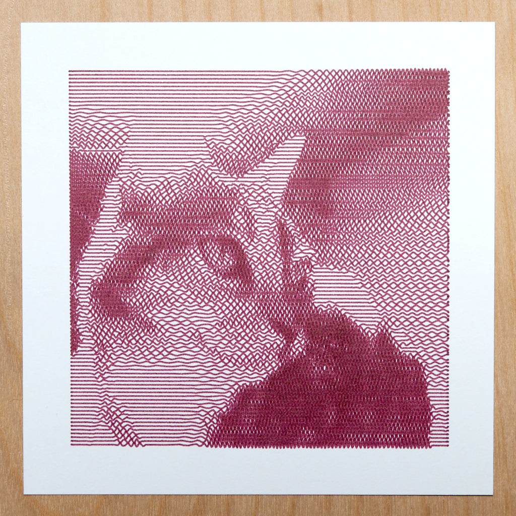 sakura micron pen in burgundy, pet portrait drawn with axidraw pen plotter