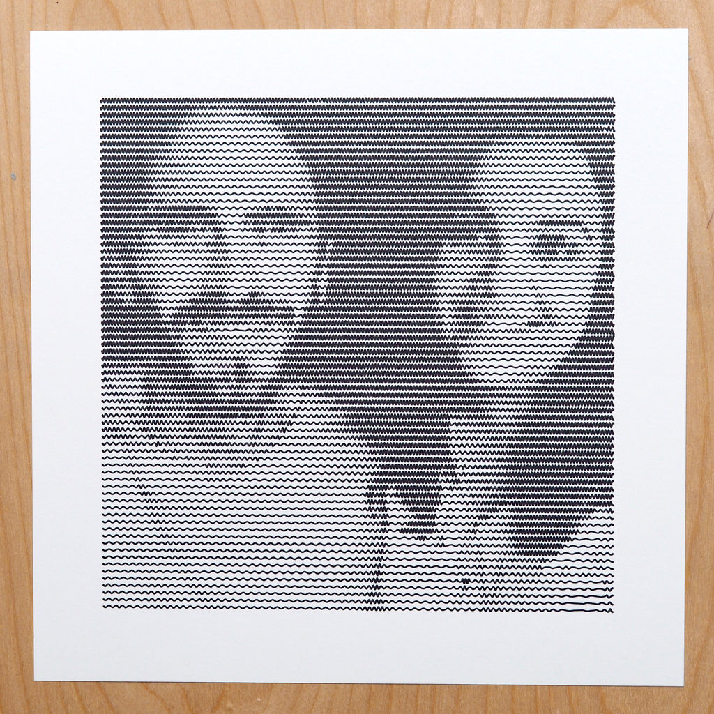 portrait art drawn using axidraw pen plotter vector line art generated from photo