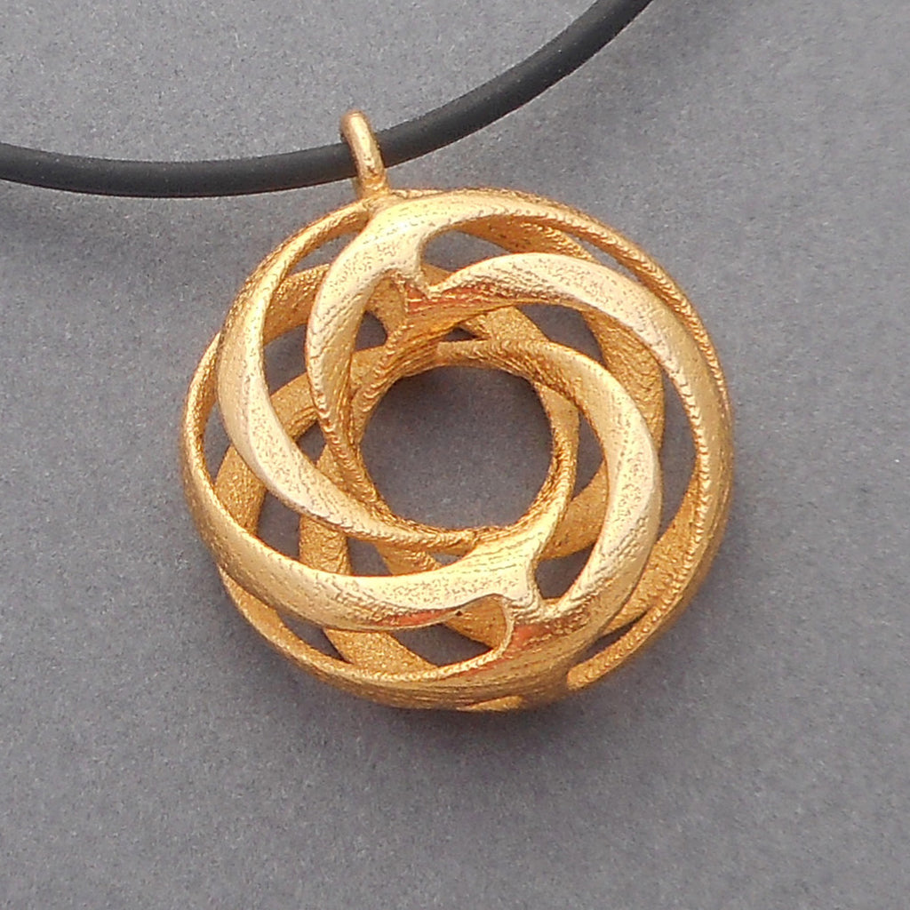 3d printed twisted torus pendant by betty chang