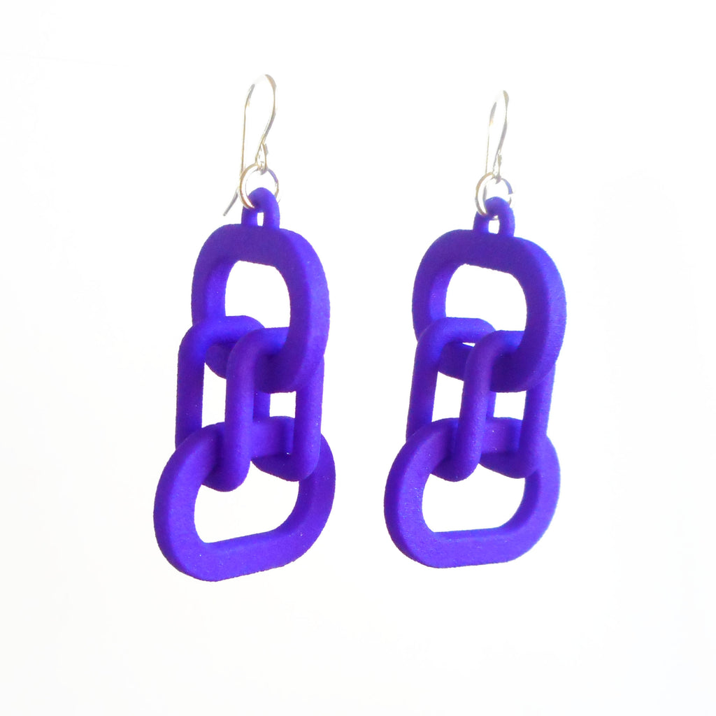 borromean rings earrings 3d printed nylon by betty chang