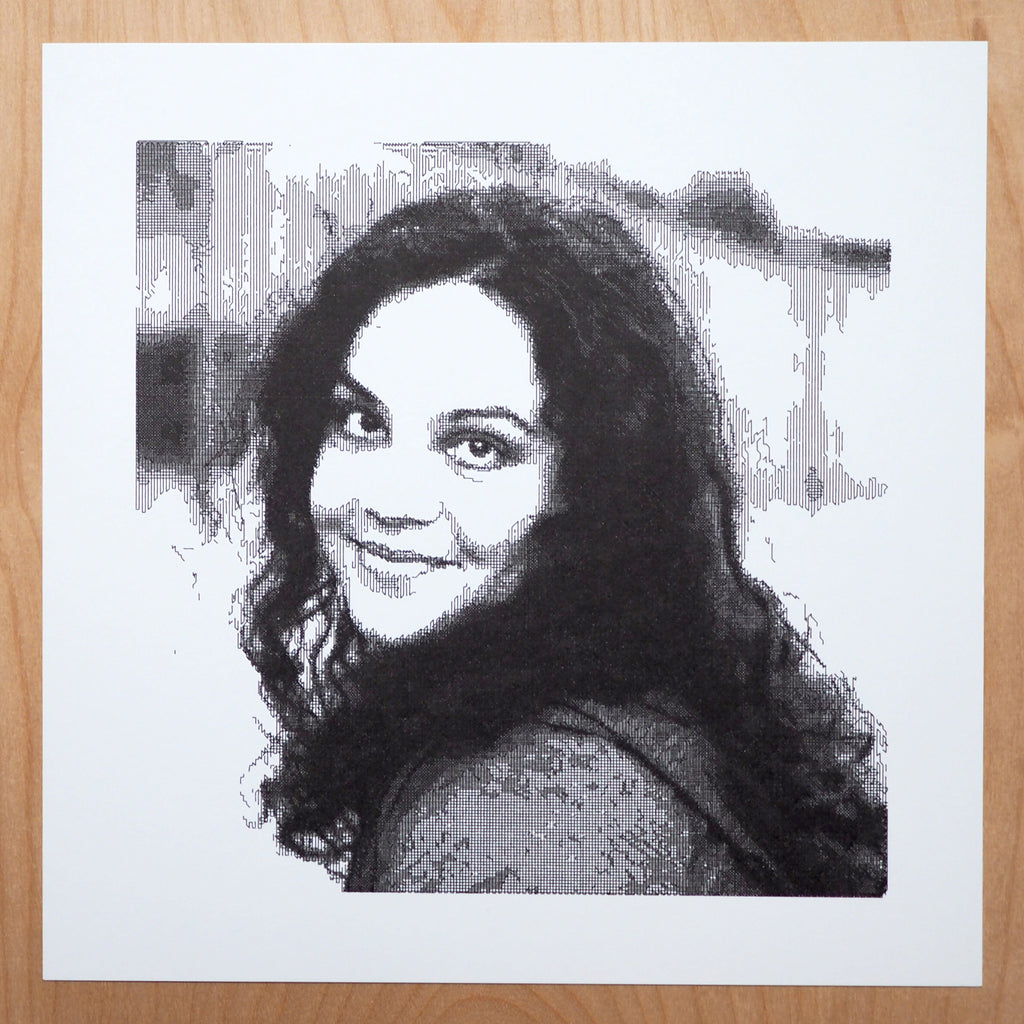 michelle chandra generative pen plot portrait by john proudlock
