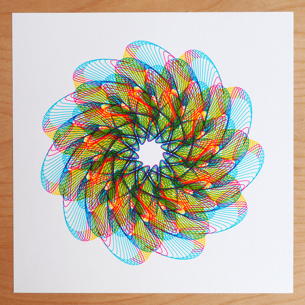 cmyk print, stabilo fine point pens, axidraw pen plotter, generative spirograph art process color