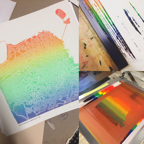 Screenprinting rainbow San Francisco city map posters