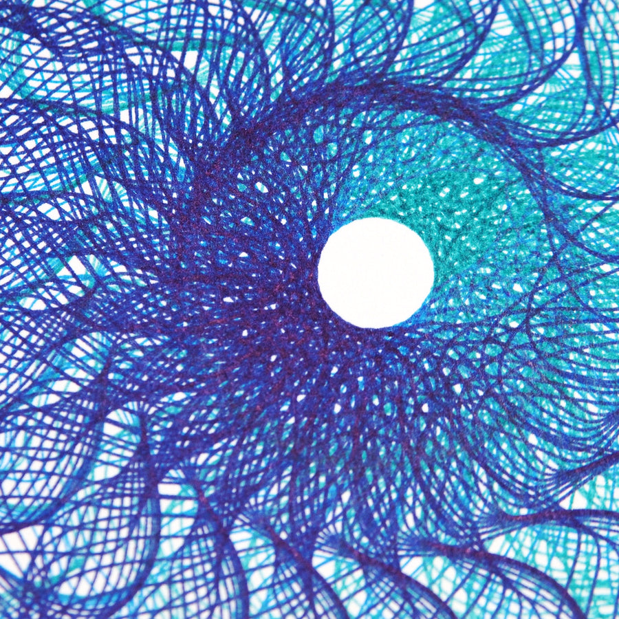Ocean Blue Sunflower Spirograph Print - Limited Edition of 4