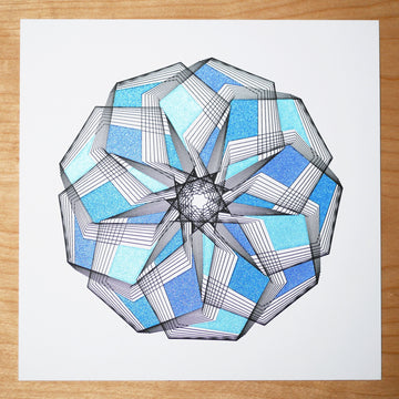 Blue Little Star Spirograph Print