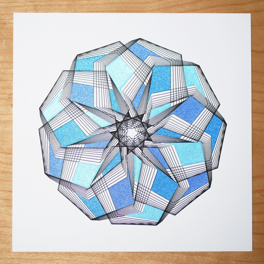 Blue Little Star Spirograph Print - Limited Edition of 5