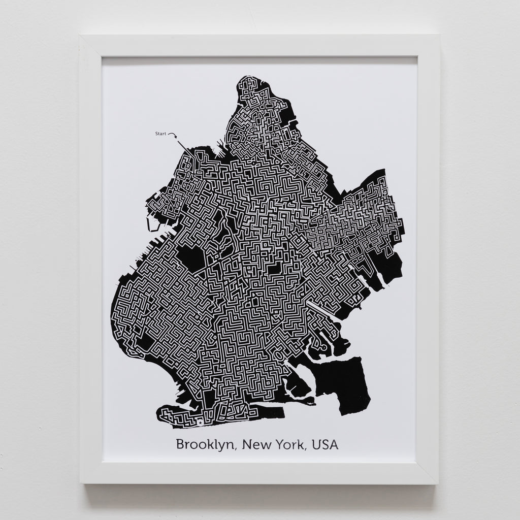 black and white brooklyn maze map poster by dirt alley design