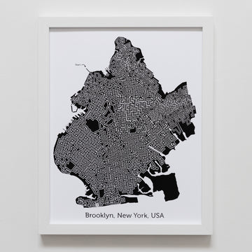 black and white brooklyn map art print poster maze