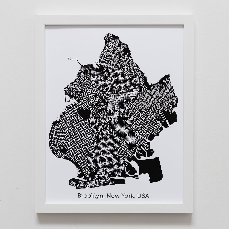 Black and White Brooklyn Print | 11X14 Map Art