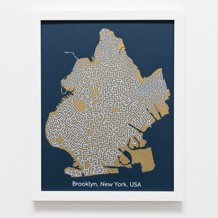 blue and gold brooklyn map art print poster maze new york city puzzle labyrinth screen print