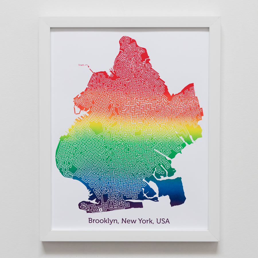 rainbow brooklyn new york city map art print poster maze city tourist gift souvenir puzzle labyrinth screen print city housewarming present