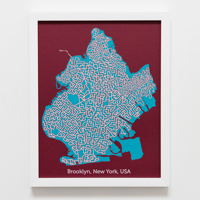red and teal brooklyn new york city map art print poster maze city tourist gift souvenir puzzle labyrinth screen print city housewarming present