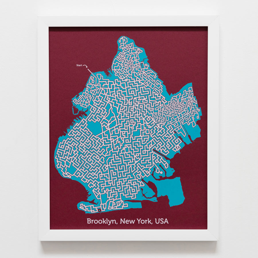 Red and Teal Brooklyn Poster | 11X14 Map Art