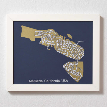 Blue and Gold Alameda Print | 8X10 Map Art