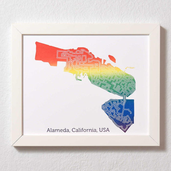 Rainbow Alameda Print | 8X10 Map Art