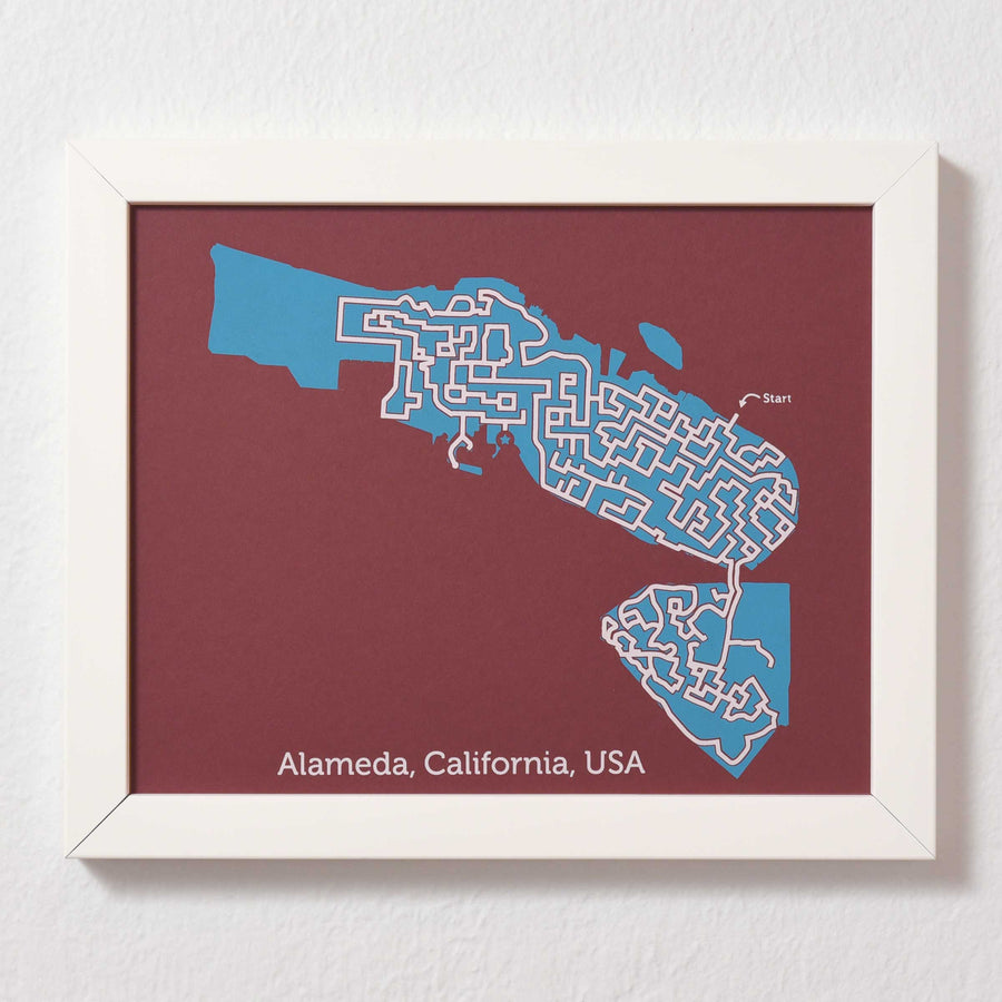 Red and Teal Alameda Print | 8X10 Map Art