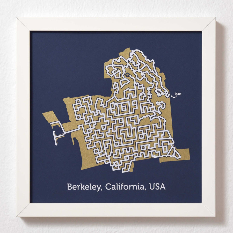Blue and Gold Berkeley Print | 10X10 Gold Map
