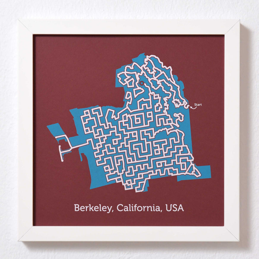 Red and Teal Berkeley Print | 10X10 Map Art