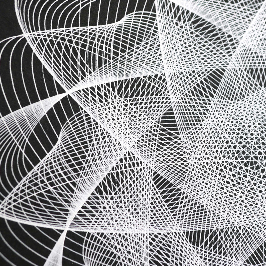 Soundwave Spirograph Art Print - Black and White #2