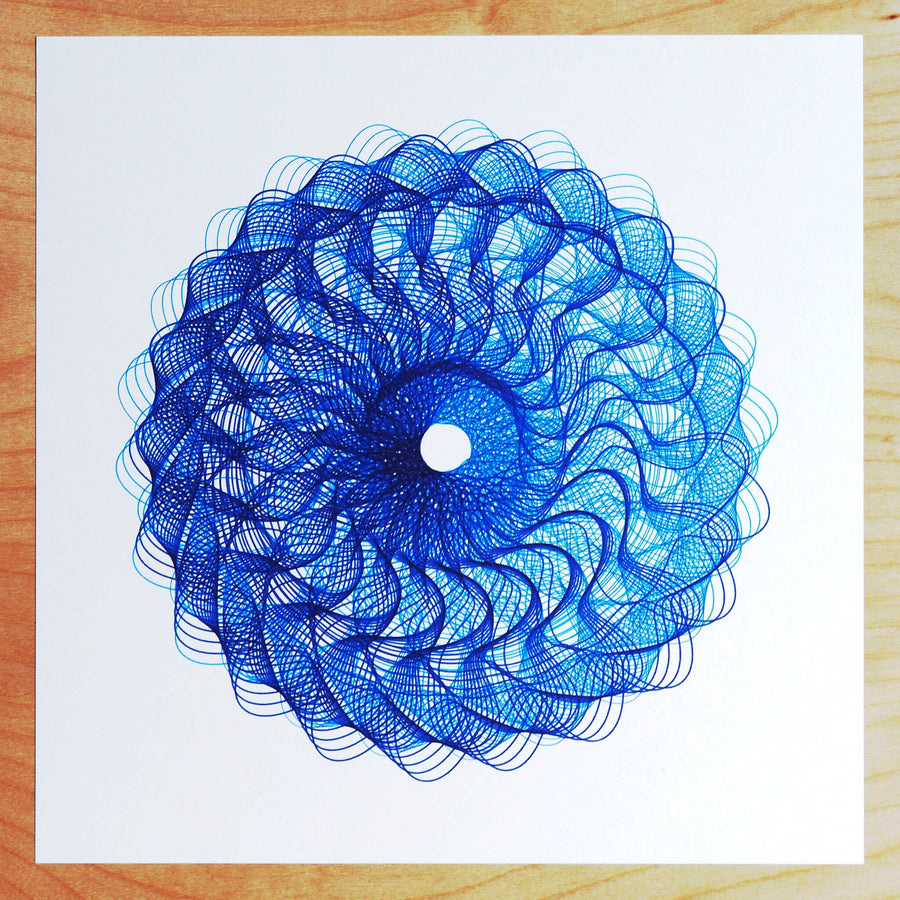 Blue Sunflower Spirograph Print - Limited Edition of 2