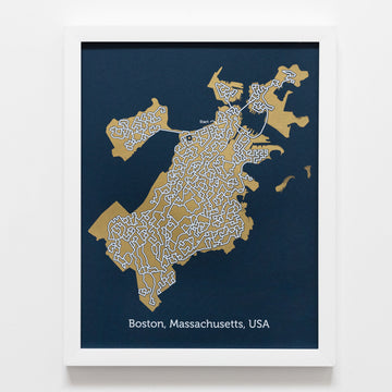 blue and gold boston map art print poster maze massachussetts puzzle labyrinth
