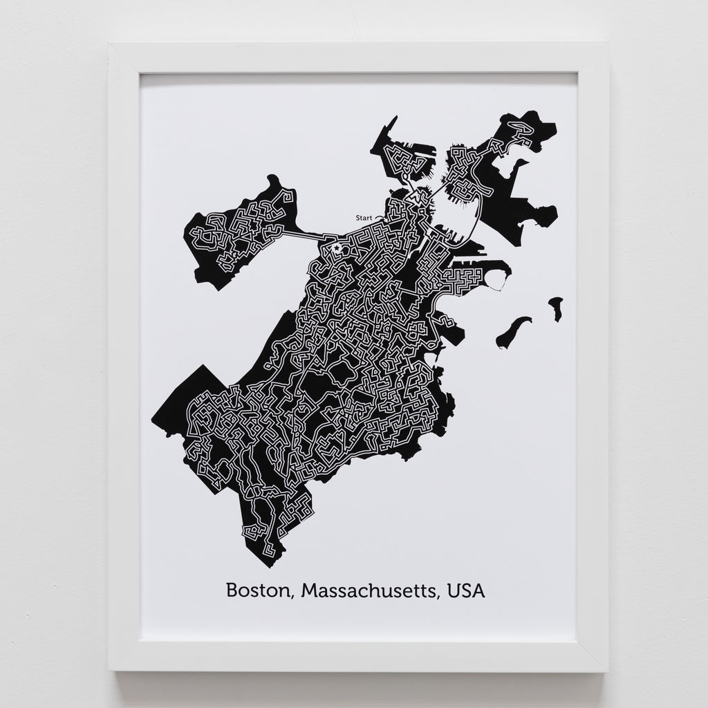 Black And White Boston Poster 11x14 Maze Art Dirt Alley Design