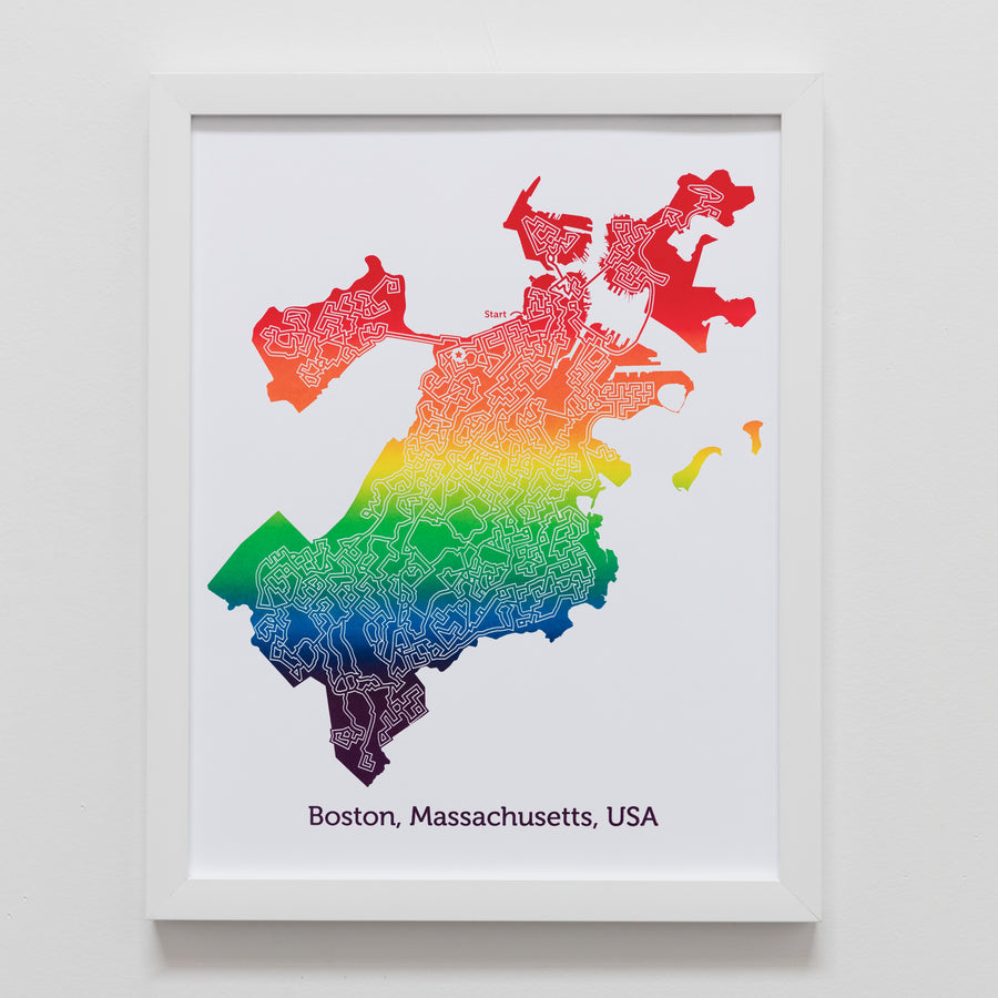 rainbow boston massachussetts map art print poster maze city tourist gift souvenir puzzle labyrinth screen print city housewarming present
